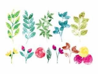 矢量水彩春天分支和鲜花