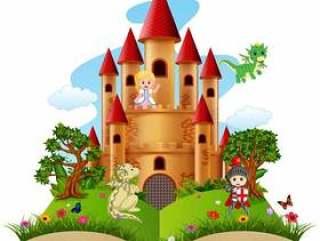 城堡与龙和故事书中的骑士