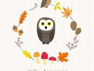 与秋天框架卡片的猫头鹰
