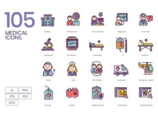 105医疗和医疗相关设计项目的美丽图标。,105医疗图标