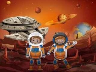 宇航员探索新的星球