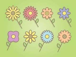 七彩花朵矢量