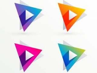 组的四种颜色的三角形横幅
