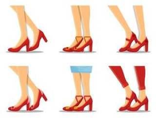 红宝石拖鞋集合矢量图