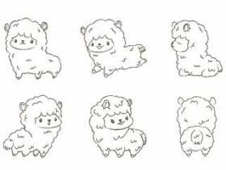 Set of Hand-drawn Outline alpacas.