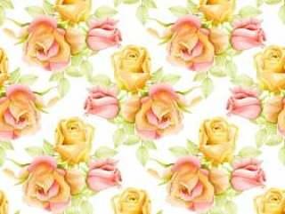 美丽的水彩花无缝图案