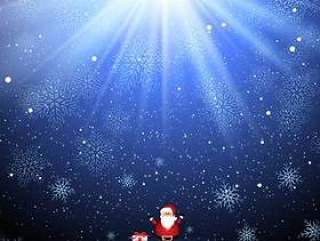 可爱的圣诞老人和雪花背景上的礼物