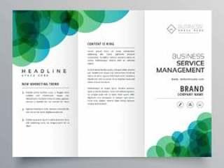 现代抽象的绿色和蓝色圆圈商业灯笼小册子