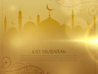 eid穆巴拉克伊斯兰节日的美好的金黄背景
