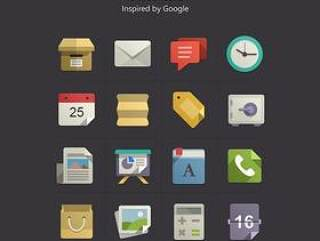 Google手机APP方形扁平化彩色物体图标