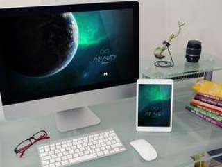 科技感VI贴图模板 国外高清VI提案模板 简洁办公桌面 苹果电脑 pad