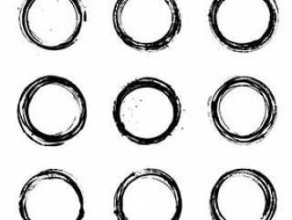 Abstract Round Grunge Vector Set