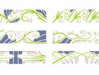 新艺术风格花卉图案元素装饰矢量