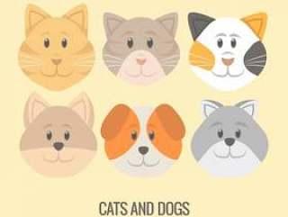 矢量小狗和小猫