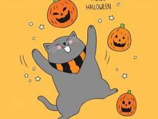 卡通可爱的万圣节猫和南瓜矢量。