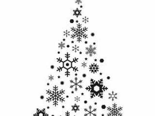 单色的圣诞树