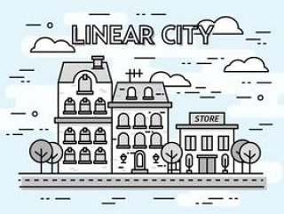 线性城市景观矢量背景