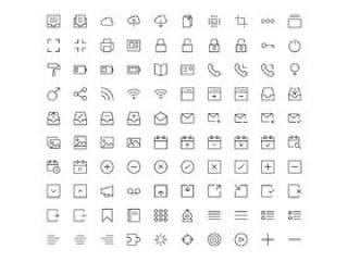 广泛的线性图标库集,1430个线性图标