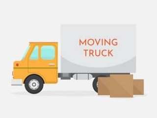 孤立的移动卡车矢量