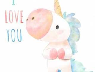 Watercolor hand drawn cute Unicorn.
