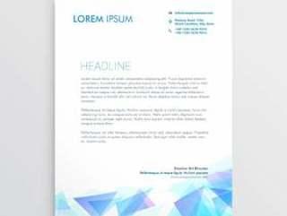 信纸设计与抽象的蓝色三角形状
