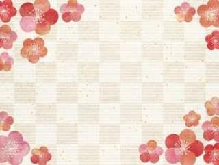 梅粉彩_格子_日本纸背景1618年