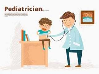 有儿童传染媒介例证的儿科医生医生