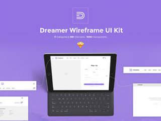 在Sketch,Dreamer线框套件中构建的150多种元素和11个类别