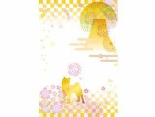 日本纸_花纹图案_樱花柴犬1