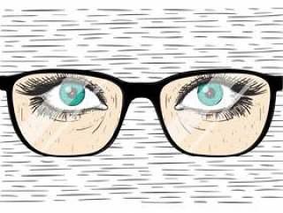 矢量手绘眼镜与眼睛