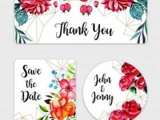 水彩花卉婚礼标签集合
