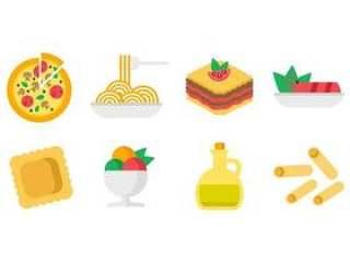 意大利美食图标矢量