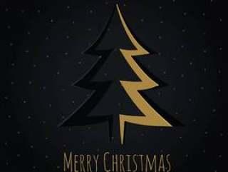 金色圣诞树设计在折纸样式