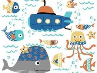 导航海洋动物动画片与潜水艇的