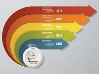 用于数据表示的5个步骤箭头模板。