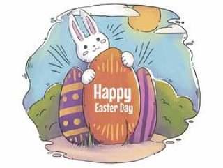 可爱的兔子用鸡蛋和风景复活节