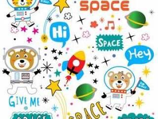空间模式动物卡通矢量