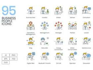 精美制作,现代与创意商务人士图标矢量包。完全可编辑和可定制的图标,适用于各种商业环境。,95商务人士图标