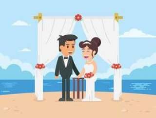海滩婚礼仪式例证