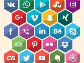 六角形的社交媒体图标