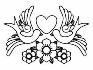 心和鸟纹身孤立的图标设计
