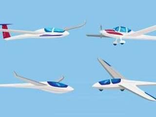 滑翔机飞机矢量平面插画