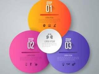 演示文稿的3个步骤业务信息图表元素