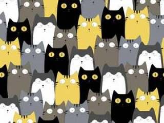可爱的猫多彩无缝图案背景