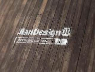 木质背景标志效果样机mockup-LOGO展示神器