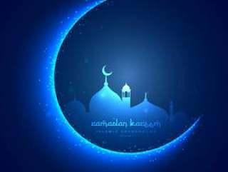 与月亮和masjid的节日贺卡