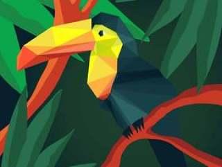 折纸动物巨嘴鸟热带风格的插图矢量