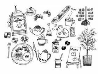 手写的咖啡馆例证(线描)