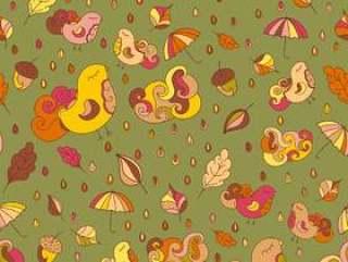 无缝模式与鸟类和枫叶队。矢量秋天主题背景。织物或其他设计的无尽模式。