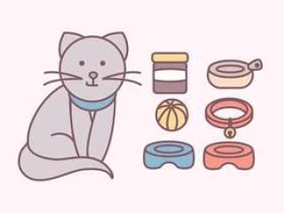 矢量可爱的猫咪配件